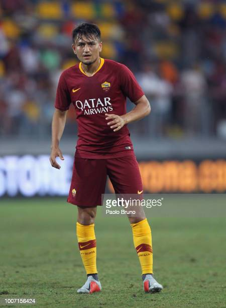 Cengiz Under of AS Roma looks on during the PreSeason Friendly match between AS Roma and Avellino at Stadio Benito Stirpe on July 20 2018 in...