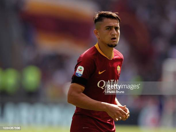 Cengiz Under of AS Roma looks on during the serie A match between AS Roma and Chievo Verona at Stadio Olimpico on September 16 2018 in Rome Italy