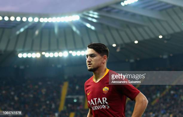 Cengiz Under of AS Roma looks on during the Serie A match between Udinese and AS Roma at Stadio Friuli on November 24 2018 in Udine Italy