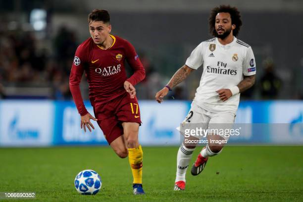 Cengiz Under of AS Roma Marcelo of Real Madrid during the UEFA Champions League match between AS Roma v Real Madrid at the Stadio Olimpico Rome on...