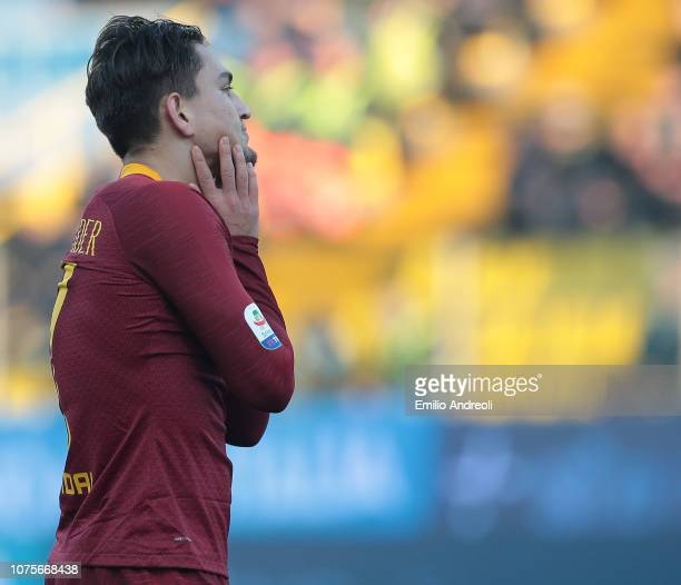 Cengiz Under of AS Roma reacts after misses a chance of a goal during the Serie A match between Parma Calcio and AS Roma at Stadio Ennio Tardini on...