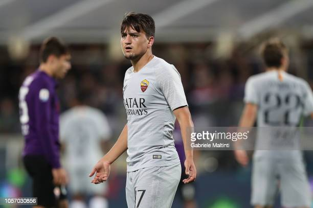 Cengiz Under of AS Roma reacts during the Serie A match between ACF Fiorentina and AS Roma at Stadio Artemio Franchi on November 3 2018 in Florence...