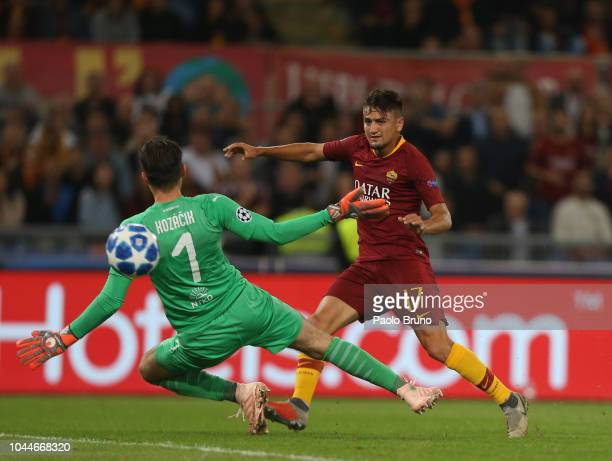 Cengiz Under of AS Roma scores the team's third goal during the Group G match of the UEFA Champions League between AS Roma and Viktoria Plzen at...