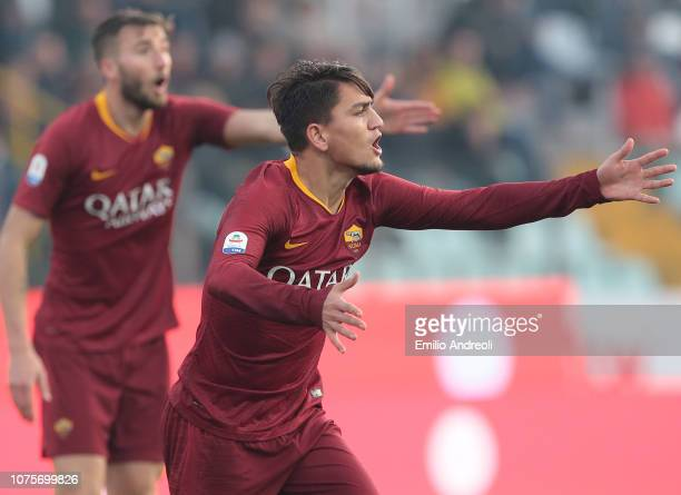 Cengiz Under of AS Roma shouts during the Serie A match between Parma Calcio and AS Roma at Stadio Ennio Tardini on December 29 2018 in Parma Italy