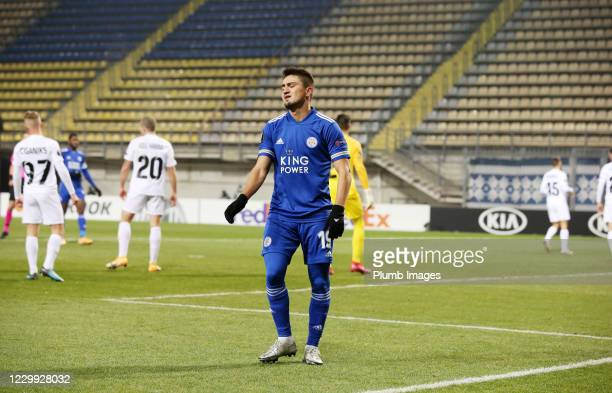 Cengiz Under of Leicester City reacts during the UEFA Europa League Group G stage match between Zorya Luhansk and Leicester City at Slavutych Arena...