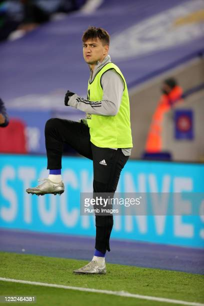 Cengiz Under of Leicester City warms up from the bench during the Premier League match between Leicester City and West Bromwich Albion at The King...