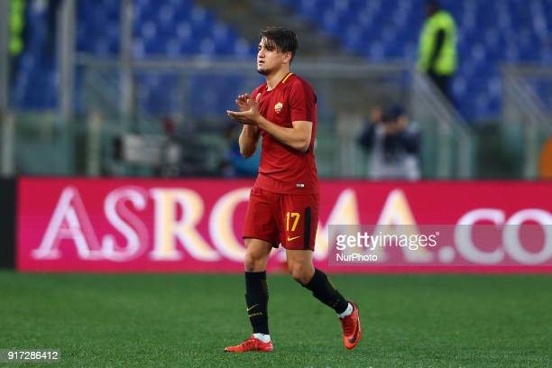 Cengiz Under of Roma greeting the supporters during the serie A match between AS Roma and Benevento Calcio at Stadio Olimpico on February 11 2018 in...