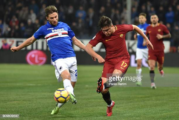 Cengiz Under of Roma is challenged by Bartosz Bereszynski of Sampdoria during the Serie A match between UC Sampdoria and AS Roma on January 24 2018...