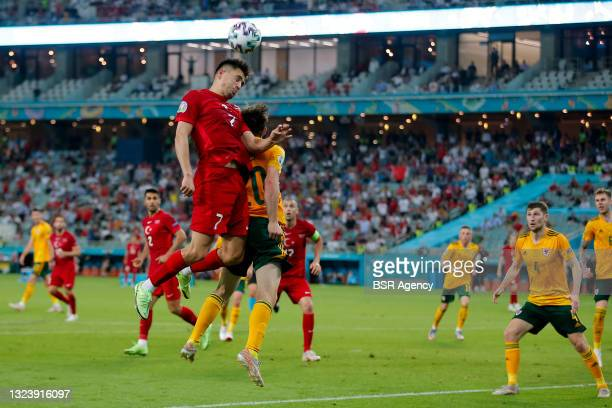 Cengiz Under of Turkey competes for the headed ball with Daniel James of Wales during the UEFA Euro 2020 Championship Group A match between Turkey...