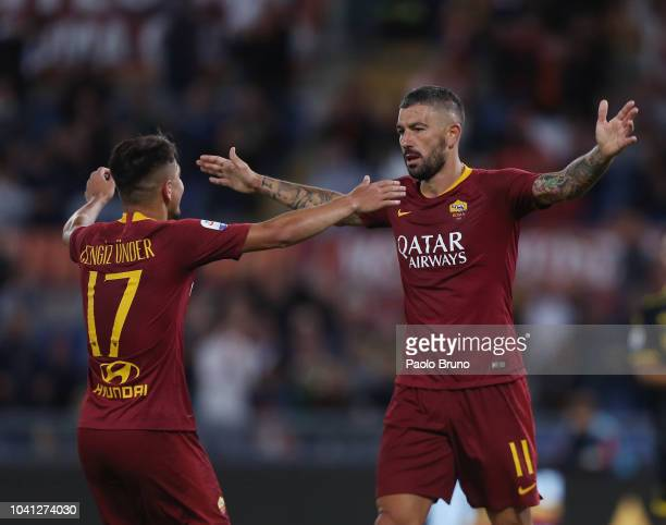 Cengiz Under with Aleksandar Kolarov of AS Roma celebrate after scoring the team's fourth goal during the Serie A match between AS Roma and Frosinone...