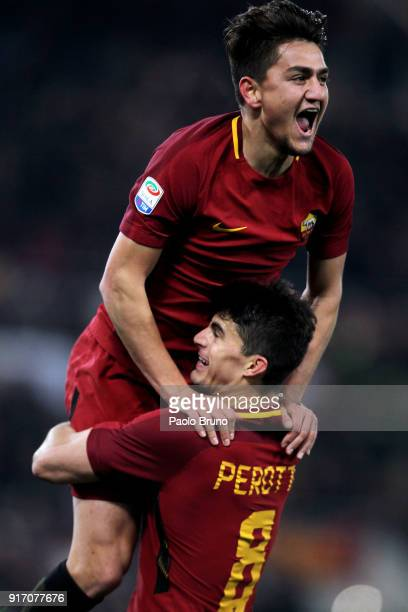 Cengiz Under with his teammate Diego Perotti of AS Roma celebrates after scoring the team's third goal during the serie A match between AS Roma and...