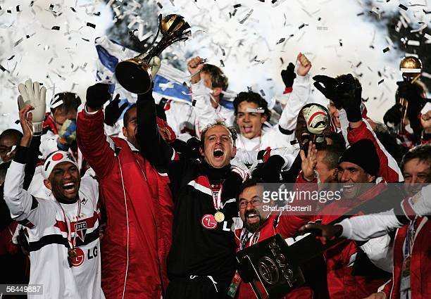 Ceni Rogerio the Sao Paulo captain lifts the trophy after the FIFA Club World Championship Toyota Cup 2005 Final between Liverpool and Sao Paulo at...