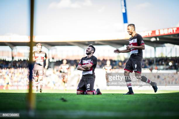 Cenk Sahin of St Pauli celebrates his goal with team mates during the Second Bundesliga match between Eintracht Braunschweig and FC St Pauli at...