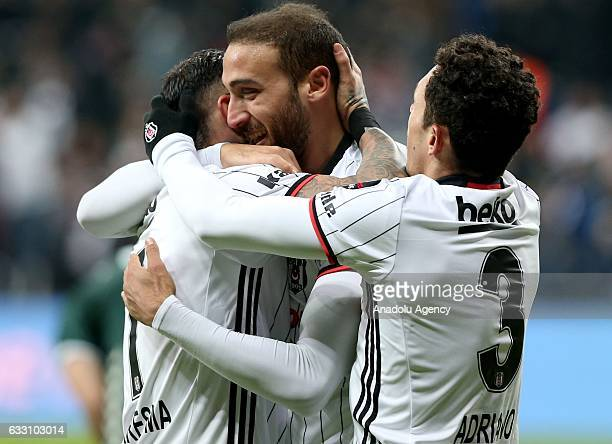 30 Cenk Tosun Adriano Correia of Besiktas celebrate after scoring a goal during Turkish Spor Toto Super Lig football match between Besiktas and...