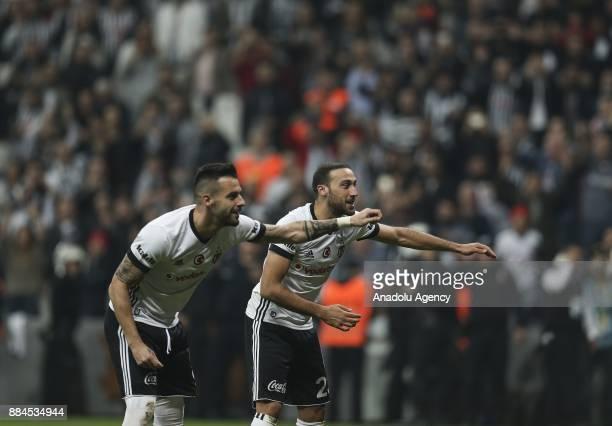 Cenk Tosun and Alvaro Negredo of Besiktas celebrates after the Turkish Super Lig match between Besiktas and Galatasaray at Vodafone Park in Istanbul...
