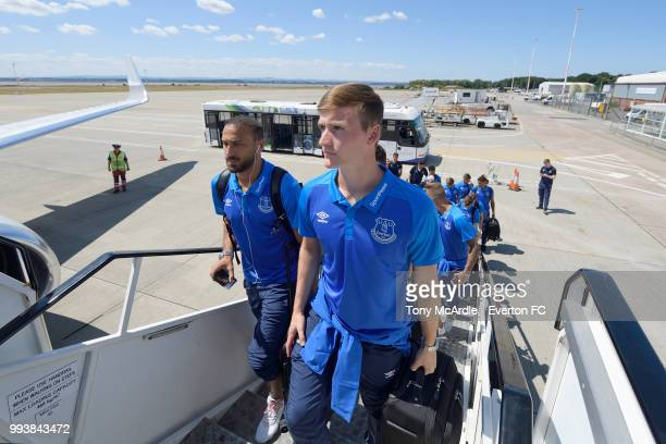 Cenk Tosun and Callum Connolly of Everton depart for a preseason training camp at John Lennon Airport on July 8 2018 inLiverpool England