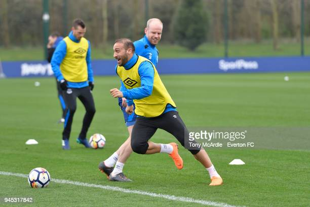 Cenk Tosun and Davy Klaassen during the Everton FC training session at USM Finch Farm on April 12 2018 in Halewood England