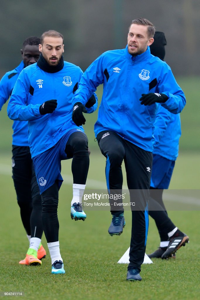 Cenk Tosun and Gylfi Sigurdsson during the Everton FC training session at USM Finch Farm on January 12, 2018 in Halewood, England.