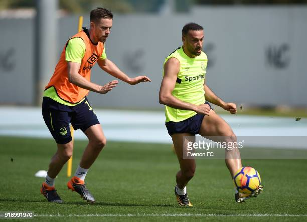 Cenk Tosun and Gylfi Sigurdsson in action during the Everton warm weather training camp at NAS Sports Complex on February 16 2018 in Dubai United...