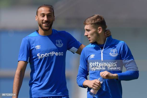 Cenk Tosun and Jonjoe Kenny of Everton during the Everton training session on July 12 2018 in Bad Mitterndorf Austria