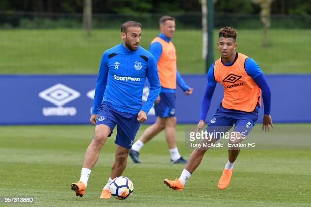 Cenk Tosun and Mason Holgate during the Everton FC training session at USM Finch Farm on May 11 2018 in Halewood England