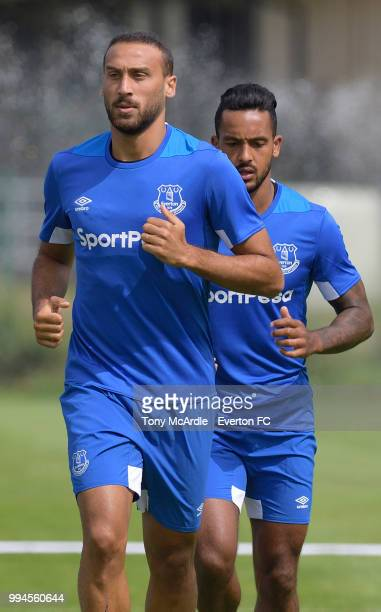 Cenk Tosun and Theo Walcott of Everton in action during the Everton training session on July 9 2018 in Bad Mitterndorf Austria