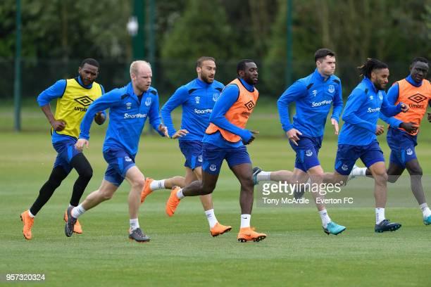 Cenk Tosun Cuco Martina Davy Klaassen Cenk Tosun Yannick Bolasie Michael Keane Ashley Williams and Oumar Niasse during the Everton FC training...