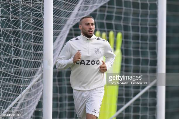 Cenk Tosun during the Everton Training Session at USM Finch Farm on September 16 2021 in Halewood, England.