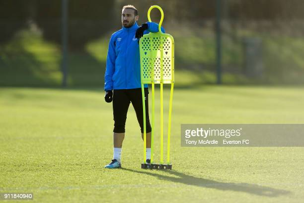 Cenk Tosun during the Everton training session at USM Finch Farm on January 29 2018 in Halewood England