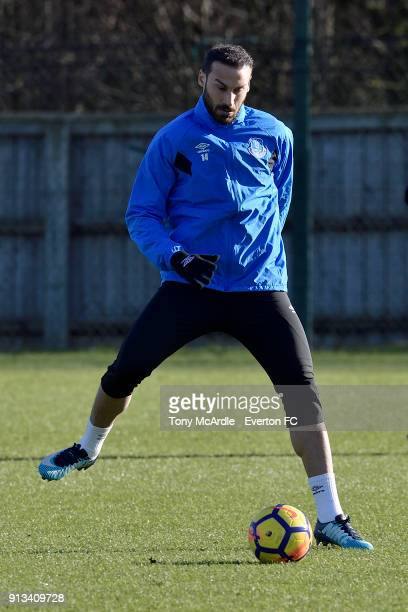 Cenk Tosun during the Everton training session at USM Finch Farm on February 2 2018 in Halewood England