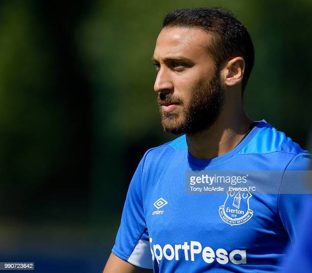 Cenk Tosun during the Everton training session at USM Finch Farm on July 3 2018 in Halewood England
