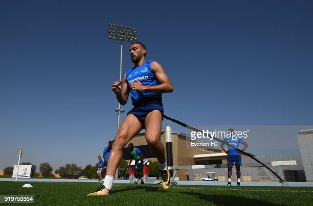 Cenk Tosun in action during the Everton warm weather training camp at NAS Sports Complex on February 17 2018 in Dubai United Arab Emirates