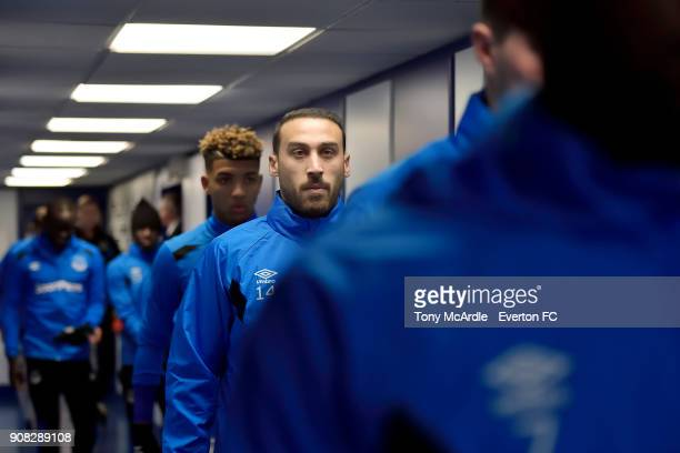 Cenk Tosun in the Everton tunnel before the Premier League match between Everton and West Bromwich Albion at Goodison Park on January 20 2018 in...