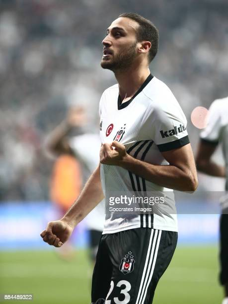 Cenk Tosun of Besiktas celebrates 10 during the Turkish Super lig match between Besiktas v Galatasaray at the Vodafone Park on December 2 2017 in...