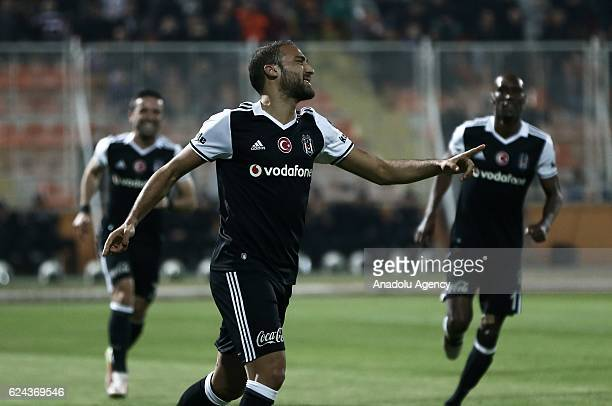 Cenk Tosun of Besiktas celebrates after scoring a goal during the Turkish Spor Toto Super Lig match between Adanaspor and Besiktas at Adana 5 Ocak...