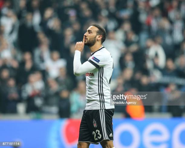 Cenk Tosun of Besiktas celebrates after the UEFA Champions League Group G soccer match between Besiktas and Porto at the Vodafone Park in Istanbul...