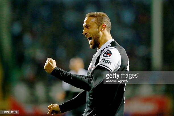 Cenk Tosun of Besiktas celebrates his goal during the Turkish Spor Toto Super Lig match Aytemiz Alanyaspor and Besiktas in Alanya district of Antalya...