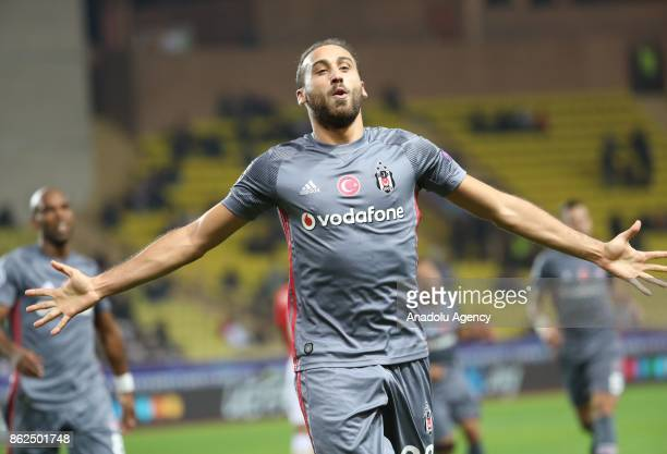 Cenk Tosun of Besiktas celebrates his score during UEFA Champions League Group G match between Monaco and Besiktas at Stade Louis II in Fontvieille...