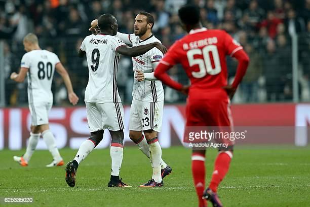 Cenk Tosun of Besiktas celebrates with his teammate Aboubakar after scoring a goal during the UEFA Champions League Group B match between Besiktas...