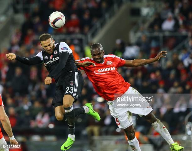 Cenk Tosun of Besiktas in action against Shir Tzedek of Hapoel BeerSheva during the UEFA Europa League Round of 32 match between Hapoel BeerSheva and...