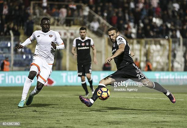 Cenk Tosun of Besiktas in action during the Turkish Spor Toto Super Lig match between Adanaspor and Besiktas at Adana 5 Ocak Fatih Terim Stadium in...
