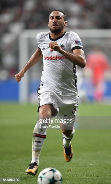 Cenk Tosun of Besiktas in action during the UEFA Champions League second leg group G match between Besiktas and RB Leipzig at the Vodafone Park on...
