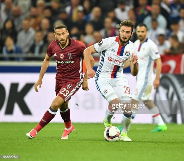 Cenk Tosun of Besiktas in action during the UEFA Europa League first leg quarter final football match between Olympique Lyonnais and Besiktas JK at...