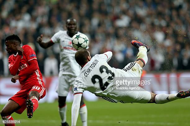 Cenk Tosun of Besiktas shoots to a goal during the UEFA Champions League Group B match between Besiktas and SL Benfica at Vodafone Arena in Istanbul...