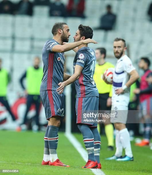 Cenk Tosun of Besiktas substitutes with Orkan Cinar during the Turkish Ziraat Cup soccer match between Besiktas and Osmanlispor at Vodafone Park in...