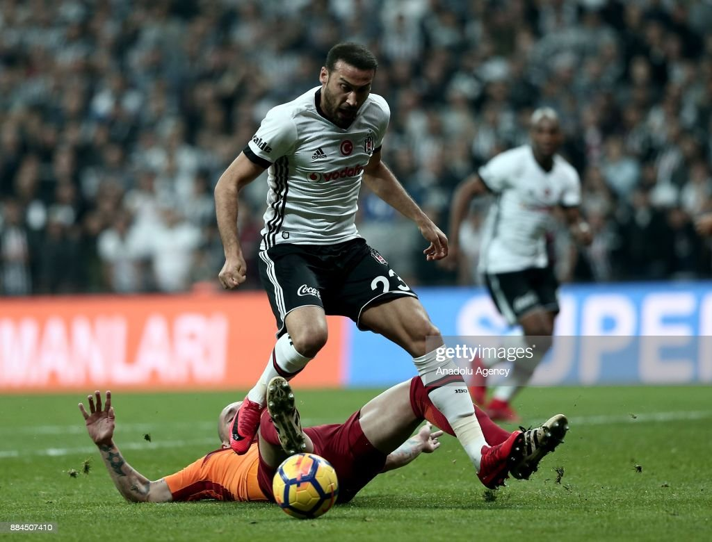 Cenk Tosun of Besiktas (23) vies with Maicon of Galatasaray during the Turkish Super Lig match between Besiktas and Galatasaray at Vodafone Park in Istanbul, Turkey on December 2, 2017