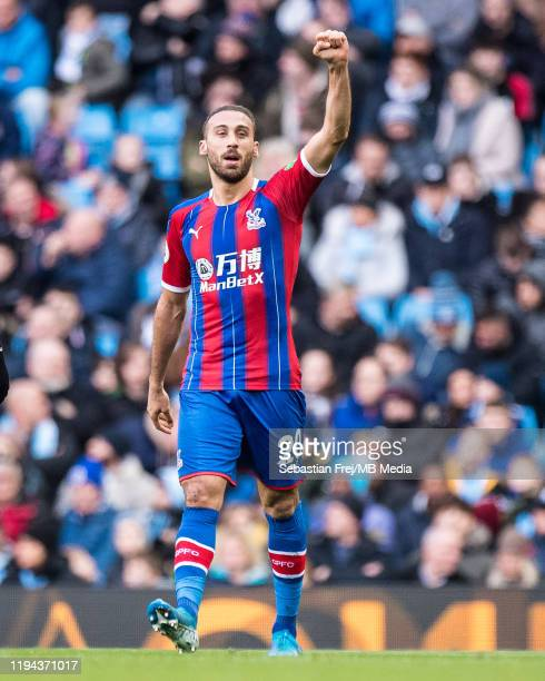 Cenk Tosun of Crystal Palace celebrate after scoring goal during the Premier League match between Manchester City and Crystal Palace at Etihad...