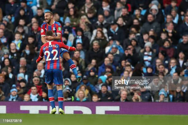 Cenk Tosun of Crystal Palace celebrates after scoring a goal to make it 01 during the Premier League match between Manchester City and Crystal Palace...