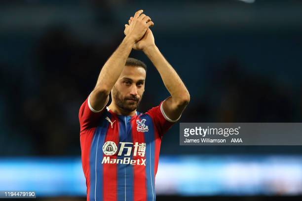 Cenk Tosun of Crystal Palace celebrates at full time of the Premier League match between Manchester City and Crystal Palace at Etihad Stadium on...