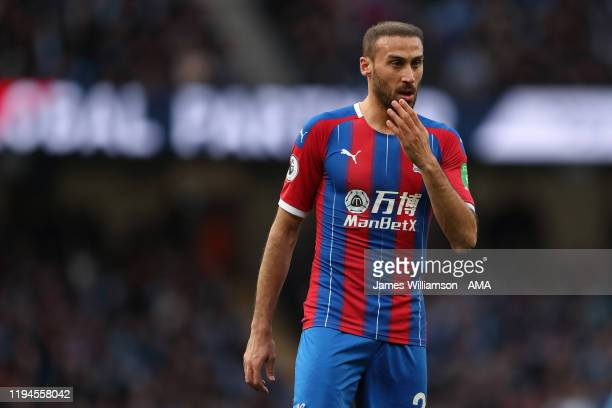 Cenk Tosun of Crystal Palace during the Premier League match between Manchester City and Crystal Palace at Etihad Stadium on January 18 2020 in...
